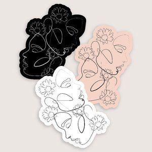 MED 3 Pack Female Line Art and Flower Stickers